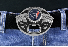 "<Br>            OFFICIALLY LICENSED NFL!!<Br> W17763BK - HOUSTON TEXANS ""OFFICIAL <Br>TAILGATER"" BELT BUCKLE WITH BOTTLE <Br>     OPENER YOUR LOW PRICE IS $15.85"