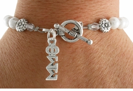 <Br>OFFICIALLY LICENSED SORORITY BRACELET!!<Br>                     LEAD & NICKEL FREE!!<Br>             W19070B - PHI SIGMA SIGMA<BR>                   PEARL BEAD BRACELET <BR>                 FROM $9.00 TO $20.00
