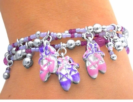 S1800B - SPECTACULAR CHILDREN'S<BR>  LEAD & NICKEL FREE PINK/PURPLE<br>    BALLET BRACELET ASSORTMENT<br>               FROM $2.81 TO $6.25