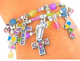 "<br>    S2145BA - LEAD & NICKEL FREE<br>""COLORFUL CROSSES"" CHILDREN'S<br>      4-COLORS, THREE BRACELETS<BR>  STRETCH BRACELET ASSORTMENT<Br>                FROM $3.94 TO $8.75"