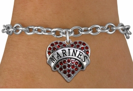 "<BR>  USMC BRACELET WHOLESALE<bR>                EXCLUSIVELY OURS!! <Br>           AN ALLAN ROBIN DESIGN!! <BR>  CLICK HERE TO SEE 1000+ EXCITING <BR>        CHANGES THAT YOU CAN MAKE! <BR>     LEAD, NICKEL & CADMIUM FREE!! <BR>  W1478SB - SILVER TONE ""MARINES"" <BR> RED CRYSTAL HEART CHARM & BRACELET <BR>         FROM $5.50 TO $9.35 �2013"