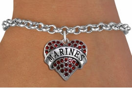"<BR>  USMC BRACELET WHOLESALE<bR>                EXCLUSIVELY OURS!! <Br>           AN ALLAN ROBIN DESIGN!! <BR>  CLICK HERE TO SEE 1000+ EXCITING <BR>        CHANGES THAT YOU CAN MAKE! <BR>     LEAD, NICKEL & CADMIUM FREE!! <BR>  W1478SB - SILVER TONE ""MARINES"" <BR> RED CRYSTAL HEART CHARM & BRACELET <BR>         FROM $5.15 TO $9.00 �2013"