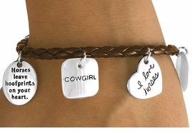 "W10821B - BROWN ""I LOVE HORSES""<Br>    COWGIRL MULTI CHARM TOGGLE<br>          BRACELET AS LOW AS $4.90"