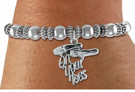 "<bR>   WHOLESALE FASHION BALLET CHARM BRACELET   <BR>                        EXCLUSIVELY OURS!!   <BR>                   AN ALLAN ROBIN DESIGN!!   <BR>             CADMIUM, LEAD & NICKEL FREE!!   <BR>    W1413SB6 - ""ON YOUR TOES"" BALLET SHOES  <BR>      SILVER TONE CHARM ON DETAILED BEADED   <BR>STRETCH BRACELET FROM $4.40 TO $9.20 �2015"
