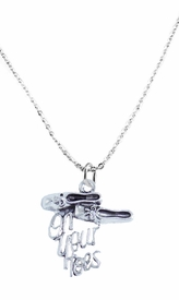 "<bR>       WHOLESALE DANCE & BALLET JEWELRY! <BR>                 AN ALLAN ROBIN DESIGN!! <BR>             LEAD, NICKEL & CADMIUM FREE <BR  >W1413SN1 - ""ON YOUR TOES"" BALLET SHOES  <Br>SILVER TONE CHARM ON ADULT LOBSTER CLASP  <BR>   CHAIN NECKLACE FROM $4.50 TO $8.35 �2015"