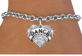 "<BR>      WHOLESALE DANCE BRACELET<bR>                EXCLUSIVELY OURS!! <Br>           AN ALLAN ROBIN DESIGN!! <BR>  CLICK HERE TO SEE 1000+ EXCITING <BR>        CHANGES THAT YOU CAN MAKE! <BR>     LEAD, NICKEL & CADMIUM FREE!! <BR> W1414SB - SILVER TONE ""DANCE"" CLEAR <BR>    CRYSTAL HEART CHARM & BRACELET <BR>         FROM $5.15 TO $9.00 �2013"