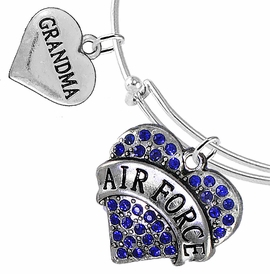 "<Br>         WHOLESALE AIR FORCE JEWELRY  <BR>                AN ALLAN ROBIN DESIGN!! <Br>          CADMIUM, LEAD & NICKEL FREE!!  <Br> W1477-1832B9 - ""AIR FORCE - GRANDMA"" HEART  <BR>CHARMS ON THIN ADJUSTABLE WIRE BRACELET <BR>            FROM $7.50 TO $9.50 �2016"