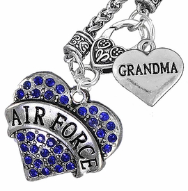 "<Br>         WHOLESALE AIR FORCE JEWELRY   <BR>                AN ALLAN ROBIN DESIGN!!  <Br>          CADMIUM, LEAD & NICKEL FREE!!   <Br>W1477-1832N10 - ""AIR FORCE - GRANDMA"" HEART   <BR>CHARMS ON CLASP OF HEART LOBSTER CLASP CHAIN  <BR>   NECKLACE FROM $8.50 TO $10.50 �2016"