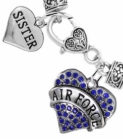 "<Br>         WHOLESALE AIR FORCE JEWELRY  <BR>                AN ALLAN ROBIN DESIGN!! <Br>          CADMIUM, LEAD & NICKEL FREE!!  <Br> W1477-1833B1 - ""AIR FORCE - SISTER"" HEART  <BR>  CHARMS ON HEART LOBSTER CLASP BRACELET <BR>            FROM $7.50 TO $9.50 �2016"