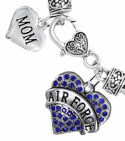 "<Br>         WHOLESALE AIR FORCE JEWELRY  <BR>                AN ALLAN ROBIN DESIGN!! <Br>          CADMIUM, LEAD & NICKEL FREE!!  <Br> W1477-1837B1 - ""AIR FORCE - MOM"" HEART  <BR>  CHARMS ON HEART LOBSTER CLASP BRACELET <BR>            FROM $7.50 TO $9.50 �2016"