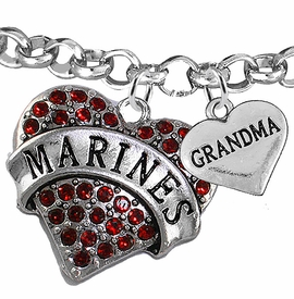 "<Br>         WHOLESALE USMC MARINES JEWELRY  <BR>                AN ALLAN ROBIN DESIGN!! <Br>          CADMIUM, LEAD & NICKEL FREE!!  <Br> W1478-1832B2 - ""MARINES - GRANDMA"" HEART  <BR>CHARMS ON LOBSTER CLASP ROLLO CHAIN BRACELET <BR>            FROM $7.50 TO $9.50 �2016"