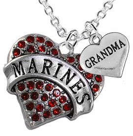 "<Br>         WHOLESALE USMC MARINES JEWELRY  <BR>                AN ALLAN ROBIN DESIGN!! <Br>          CADMIUM, LEAD & NICKEL FREE!!  <Br>W1478-1832N1 - ""MARINES - GRANDMA"" HEART  <BR>  CHARMS ON LOBSTER CLASP CHAIN NECKLACE <BR>        FROM $8.50 TO $10.50 �2016"