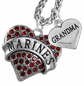 "<Br>                 WHOLESALE USMC MARINES JEWELRY   <BR>                     AN ALLAN ROBIN DESIGN!!  <Br>               CADMIUM, LEAD & NICKEL FREE!!   <Br> W1478-1832N14 - ""MARINES - GRANDMA"" HEART   <BR>CHARMS ON CHAIN OF HEART LOBSTER CLASP CHAIN  <BR>         NECKLACE FROM $8.50 TO $10.50 �2016"