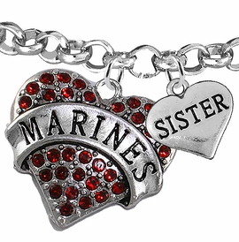 "<Br>         WHOLESALE USMC MARINES JEWELRY  <BR>                AN ALLAN ROBIN DESIGN!! <Br>          CADMIUM, LEAD & NICKEL FREE!!  <Br> W1478-1833B2 - ""MARINES - SISTER"" HEART  <BR>CHARMS ON LOBSTER CLASP ROLLO CHAIN BRACELET <BR>            FROM $7.50 TO $9.50 �2016"