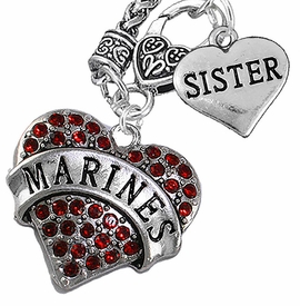 "<Br>         WHOLESALE USMC MARINES JEWELRY   <BR>                AN ALLAN ROBIN DESIGN!!  <Br>          CADMIUM, LEAD & NICKEL FREE!!   <Br>W1478-1833N10 - ""MARINES - SISTER"" HEART   <BR>CHARMS ON CLASP OF HEART LOBSTER CLASP CHAIN  <BR>   NECKLACE FROM $8.50 TO $10.50 �2016"