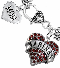 "<Br>     WHOLESALE USMC MARINES JEWELRY  <BR>                AN ALLAN ROBIN DESIGN!! <Br>          CADMIUM, LEAD & NICKEL FREE!!  <Br> W1478-1837B1 - ""MARINES - MOM"" HEART  <BR>  CHARMS ON HEART LOBSTER CLASP BRACELET <BR>            FROM $7.50 TO $9.50 �2016"
