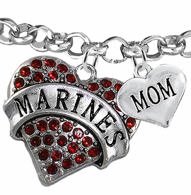 "<Br>         WHOLESALE USMC MARINES JEWELRY  <BR>                AN ALLAN ROBIN DESIGN!! <Br>          CADMIUM, LEAD & NICKEL FREE!!  <Br> W1478-1837B2 - ""MARINES - MOM"" HEART  <BR>CHARMS ON LOBSTER CLASP ROLLO CHAIN BRACELET <BR>            FROM $7.50 TO $9.50 �2016"