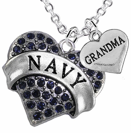 "<Br>         WHOLESALE NAVY MILITARY JEWELRY  <BR>                AN ALLAN ROBIN DESIGN!! <Br>          CADMIUM, LEAD & NICKEL FREE!!  <Br>W1479-1832N1 - ""NAVY - GRANDMA"" HEART  <BR>  CHARMS ON LOBSTER CLASP CHAIN NECKLACE <BR>        FROM $8.50 TO $10.50 �2016"
