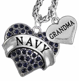 "<Br>                 WHOLESALE NAVY MILITARY JEWELRY   <BR>                     AN ALLAN ROBIN DESIGN!!  <Br>               CADMIUM, LEAD & NICKEL FREE!!   <Br> W1479-1832N14 - ""NAVY - GRANDMA"" HEART   <BR>CHARMS ON CHAIN OF HEART LOBSTER CLASP CHAIN  <BR>         NECKLACE FROM $8.50 TO $10.50 �2016"