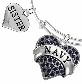 "<Br>         WHOLESALE NAVY MILITARY JEWELRY  <BR>                AN ALLAN ROBIN DESIGN!! <Br>          CADMIUM, LEAD & NICKEL FREE!!  <Br> W1479-1833B9 - ""NAVY - SISTER"" HEART  <BR>CHARMS ON THIN ADJUSTABLE WIRE BRACELET <BR>            FROM $7.50 TO $9.50 �2016"