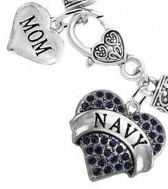 "<Br>     WHOLESALE NAVY MILITARY JEWELRY  <BR>                AN ALLAN ROBIN DESIGN!! <Br>          CADMIUM, LEAD & NICKEL FREE!!  <Br> W1479-1837B1 - ""NAVY - MOM"" HEART  <BR>  CHARMS ON HEART LOBSTER CLASP BRACELET <BR>            FROM $7.50 TO $9.50 �2016"