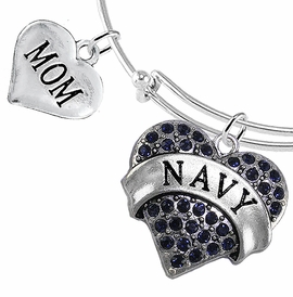 "<Br>         WHOLESALE NAVY MILITARY JEWELRY  <BR>                AN ALLAN ROBIN DESIGN!! <Br>          CADMIUM, LEAD & NICKEL FREE!!  <Br> W1479-1837B9 - ""NAVY - MOM"" HEART  <BR>CHARMS ON THIN ADJUSTABLE WIRE BRACELET <BR>            FROM $7.50 TO $9.50 �2016"