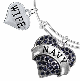"<Br>         WHOLESALE NAVY MILITARY JEWELRY  <BR>                AN ALLAN ROBIN DESIGN!! <Br>          CADMIUM, LEAD & NICKEL FREE!!  <Br> W1479-1876B9 - ""NAVY - WIFE"" HEART  <BR>CHARMS ON THIN ADJUSTABLE WIRE BRACELET <BR>            FROM $7.50 TO $9.50 �2016"