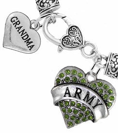 "<Br>     WHOLESALE ARMY MILITARY JEWELRY  <BR>                AN ALLAN ROBIN DESIGN!! <Br>          CADMIUM, LEAD & NICKEL FREE!!  <Br> W1480-1832B1 - ""ARMY - GRANDMA"" HEART  <BR>  CHARMS ON HEART LOBSTER CLASP BRACELET <BR>            FROM $7.50 TO $9.50 �2016"