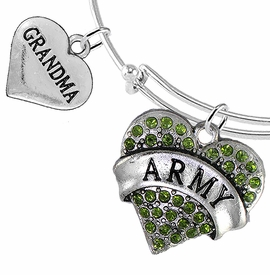"<Br>         WHOLESALE ARMY MILITARY JEWELRY  <BR>                AN ALLAN ROBIN DESIGN!! <Br>          CADMIUM, LEAD & NICKEL FREE!!  <Br> W1480-1832B9 - ""ARMY - GRANDMA"" HEART  <BR>CHARMS ON THIN ADJUSTABLE WIRE BRACELET <BR>            FROM $7.50 TO $9.50 �2016"
