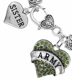 "<Br>     WHOLESALE ARMY MILITARY JEWELRY  <BR>                AN ALLAN ROBIN DESIGN!! <Br>          CADMIUM, LEAD & NICKEL FREE!!  <Br> W1480-1833B1 - ""ARMY - SISTER"" HEART  <BR>  CHARMS ON HEART LOBSTER CLASP BRACELET <BR>            FROM $7.50 TO $9.50 �2016"