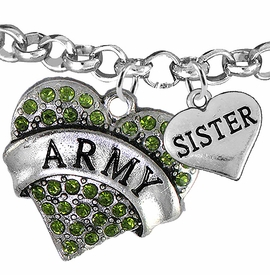 "<Br>         WHOLESALE ARMY MILITARY JEWELRY  <BR>                AN ALLAN ROBIN DESIGN!! <Br>          CADMIUM, LEAD & NICKEL FREE!!  <Br> W1480-1833B2 - ""ARMY - SISTER"" HEART  <BR>CHARMS ON LOBSTER CLASP ROLLO CHAIN BRACELET <BR>            FROM $7.50 TO $9.50 �2016"