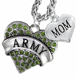 "<Br>             WHOLESALE ARMY MILITARY JEWELRY   <BR>                     AN ALLAN ROBIN DESIGN!!  <Br>               CADMIUM, LEAD & NICKEL FREE!!   <Br> W1480-1837N14 - ""ARMY - MOM"" HEART   <BR>CHARMS ON CHAIN OF HEART LOBSTER CLASP CHAIN  <BR>         NECKLACE FROM $8.50 TO $10.50 �2016"