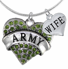 "<Br>      WHOLESALE ARMY MILITARY JEWELRY  <BR>                AN ALLAN ROBIN DESIGN!! <Br>          CADMIUM, LEAD & NICKEL FREE!!  <Br>W1480-1876N2 - ""ARMY - WIFE"" HEART  <BR>  CHARMS ON LOBSTER CLASP SNAKE CHAIN NECKLACE <BR>        FROM $8.50 TO $10.50 �2016"