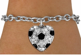 <BR>    WHOLESALE SPORTS FASHION JEWELRY <bR>                  EXCLUSIVELY OURS!! <Br>             AN ALLAN ROBIN DESIGN!! <BR>    CLICK HERE TO SEE 1000+ EXCITING <BR>          CHANGES THAT YOU CAN MAKE! <BR>       LEAD, NICKEL & CADMIUM FREE!! <BR>    W1518SB - SILVER TONE AND CLEAR <BR>   CRYSTAL SOCCER HEART CHARM AND <BR>  BRACELET FROM $5.40 TO $9.85 �2013