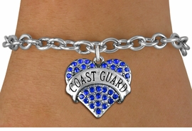 "<BR> WHOLESALE ARMED FORCES HEART JEWELRY <bR>                   EXCLUSIVELY OURS!! <Br>              AN ALLAN ROBIN DESIGN!! <BR>     CLICK HERE TO SEE 1000+ EXCITING <BR>           CHANGES THAT YOU CAN MAKE! <BR>        LEAD, NICKEL & CADMIUM FREE!! <BR>   W1528SB - ANTIQUED SILVER TONE AND <BR>BLUE CRYSTAL ""COAST GUARD"" HEART CHARM <BR>   BRACELET FROM $5.50 TO $9.35 �2013"