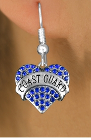 "<BR>  WHOLESALE ARMED FORCES HEART EARRINGS <bR>                 EXCLUSIVELY OURS!! <Br>            AN ALLAN ROBIN DESIGN!! <BR>      LEAD, NICKEL & CADMIUM FREE!! <BR>  W1528SE - ANTIQUED SILVER TONE AND <BR>BLUE CRYSTAL ""COAST GUARD"" HEART CHARM <BR>    EARRINGS FROM $5.40 TO $10.45 �2013"