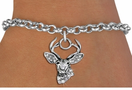<BR> WHOLESALE HUNTING FASHION JEWELRY <bR>                   EXCLUSIVELY OURS!! <Br>              AN ALLAN ROBIN DESIGN!! <BR>     CLICK HERE TO SEE 1000+ EXCITING <BR>           CHANGES THAT YOU CAN MAKE! <BR>        LEAD, NICKEL & CADMIUM FREE!! <BR>   W1533SB - ANTIQUED SILVER TONE AND <BR>CLEAR CRYSTAL DEER HEAD CHARM <BR>   BRACELET FROM $5.50 TO $9.35 �2013