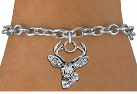 <BR> WHOLESALE HUNTING FASHION JEWELRY <bR>                   EXCLUSIVELY OURS!! <Br>              AN ALLAN ROBIN DESIGN!! <BR>     CLICK HERE TO SEE 1000+ EXCITING <BR>           CHANGES THAT YOU CAN MAKE! <BR>        LEAD, NICKEL & CADMIUM FREE!! <BR>   W1533SB - ANTIQUED SILVER TONE AND <BR>CLEAR CRYSTAL DEER HEAD CHARM <BR>   BRACELET FROM $5.40 TO $9.85 �2013