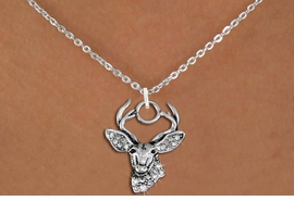<BR>   WHOLESALE HUNTING FASHION JEWELRY <bR>                     EXCLUSIVELY OURS!! <Br>                AN ALLAN ROBIN DESIGN!! <BR>       CLICK HERE TO SEE 1000+ EXCITING <BR>             CHANGES THAT YOU CAN MAKE! <BR>          LEAD, NICKEL & CADMIUM FREE!! <BR>     W1533SN - ANTIQUED SILVER TONE AND <BR>AUSTRIAN CLEAR CRYSTAL DEER HEAD CHARM <BR>      NECKLACE FROM $5.90 TO $9.35 �2013