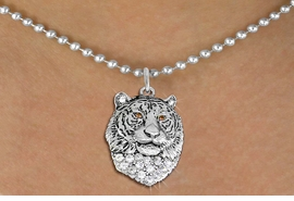 <BR>   WHOLESALE ANIMAL FASHION JEWELRY <bR>                     EXCLUSIVELY OURS!! <Br>                AN ALLAN ROBIN DESIGN!! <BR>       CLICK HERE TO SEE 1000+ EXCITING <BR>             CHANGES THAT YOU CAN MAKE! <BR>          LEAD, NICKEL & CADMIUM FREE!! <BR>     W1534SN - ANTIQUED SILVER TONE AND <BR>AUSTRIAN CLEAR CRYSTAL TIGER HEAD CHARM <BR>      NECKLACE FROM $5.90 TO $9.35 �2013