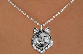 <BR>   WHOLESALE ANIMAL FASHION JEWELRY <bR>                     EXCLUSIVELY OURS!! <Br>                AN ALLAN ROBIN DESIGN!! <BR>       CLICK HERE TO SEE 1000+ EXCITING <BR>             CHANGES THAT YOU CAN MAKE! <BR>          LEAD, NICKEL & CADMIUM FREE!! <BR>     W1535SN - ANTIQUED SILVER TONE AND <BR>AUSTRIAN CLEAR CRYSTAL WOLF HEAD CHARM <BR>      NECKLACE FROM $5.90 TO $9.35 �2013