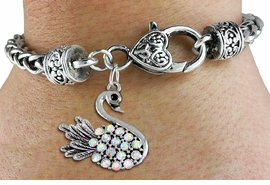 <BR>  WHOLESALE ANIMAL FASHION JEWELRY <bR>                   EXCLUSIVELY OURS!! <Br>              AN ALLAN ROBIN DESIGN!! <BR>        LEAD, NICKEL & CADMIUM FREE!! <BR>   W1536SB - ANTIQUED SILVER TONE AND <BR>AURORA BOREALIS CRYSTAL SWAN CHARM <BR>      ON HEART LOBSTER CLASP BRACELET <Br>        FROM $5.98 TO $12.85 �2013