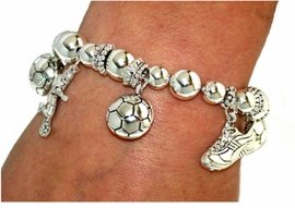 W1544B-All Silver Soccer<BR>With Quality Unbreakable Stretch <BR>Bracelet For As Low As $2.75