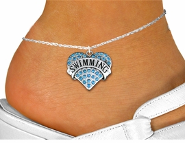 "<bR>      WHOLESALE SPORTS JEWELRY <BR>                     EXCLUSIVELY OURS!! <BR>                AN ALLAN ROBIN DESIGN!! <BR>          LEAD, NICKEL & CADMIUM FREE!! <BR>     W1547SAK - SILVER TONE AND GENUINE <BR>AQUA BLUE CRYSTAL ""SWIMMING"" HEART CHARM <Br>   AND ANKLET FROM $4.70 TO $9.35 �2013"