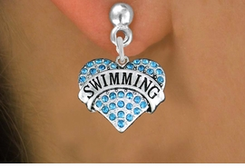 "<BR>  WHOLESALE SPORTS HEART EARRINGS <bR>                 EXCLUSIVELY OURS!! <Br>            AN ALLAN ROBIN DESIGN!! <BR>      LEAD, NICKEL & CADMIUM FREE!! <BR>  W1547SE - ANTIQUED SILVER TONE AND <BR>AQUA BLUE CRYSTAL ""SWIMMING"" HEART CHARM <BR>    EARRINGS FROM $5.40 TO $10.45 �2013"
