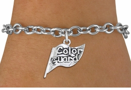 "<br> WHOLESALE FASHION CHARM BRACELET <bR>                    EXCLUSIVELY OURS!!<BR>               AN ALLAN ROBIN DESIGN!!<BR>      CLICK HERE TO SEE 1000+ EXCITING<BR>            CHANGES THAT YOU CAN MAKE!<BR>         CADMIUM, LEAD & NICKEL FREE!!<BR>     W1555SB - DETAILED 3D SILVER TONE <Br>""COLOR GUARD"" FLAG CHARM & BRACELET <BR>             FROM $4.50 TO $8.35 �2014"
