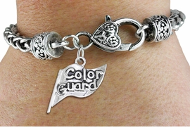 "<bR>    WHOLESALE FASHION CHARM BRACELET <BR>                     EXCLUSIVELY OURS!! <BR>                AN ALLAN ROBIN DESIGN!! <BR>          CADMIUM, LEAD & NICKEL FREE!! <BR>        W1555SB - DETAILED 3D SILVER TONE  <BR>""COLOR GUARD"" FLAG CHARM & HEART CLASP <BR>      BRACELET FROM $4.40 TO $9.20 �2014"