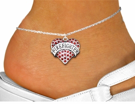 "<bR>      WHOLESALE FASHION COSTUME JEWELRY <BR>                     EXCLUSIVELY OURS!! <BR>                AN ALLAN ROBIN DESIGN!! <BR>          LEAD, NICKEL & CADMIUM FREE!! <BR>     W1557SAK - SILVER TONE AND GENUINE <BR>RED CRYSTAL ""FIREFIGHTER"" HEART CHARM <Br>   AND ANKLET FROM $4.70 TO $9.35 �2014"