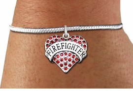"""<bR>    WHOLESALE FASHION CHARM BRACELET <BR>                     EXCLUSIVELY OURS!! <BR>                AN ALLAN ROBIN DESIGN!! <BR>          CADMIUM, LEAD & NICKEL FREE!! <BR>W1557SB - SILVER TONE AND RED CRYSTAL <BR>""""FIREFIGHTER"""" HEART CHARM & SNAKE CHAIN<BR>      BRACELET FROM $5.98 TO $12.85 �2014"""