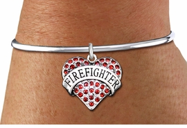 """<bR>    WHOLESALE FASHION CHARM BRACELET <BR>                     EXCLUSIVELY OURS!! <BR>                AN ALLAN ROBIN DESIGN!! <BR>          CADMIUM, LEAD & NICKEL FREE!! <BR>W1557SB - SILVER TONE AND RED CRYSTAL <BR>""""FIREFIGHTER"""" HEART CHARM & SOLID WIRE <BR>      BRACELET FROM $5.98 TO $12.85 �2014"""
